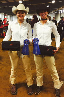 Tonto and Sawicki with their first place ribbons, at FSU on October 17, 2015.