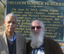 Albion College history professor Wes Dick (right) with civil rights leader Julian Bond