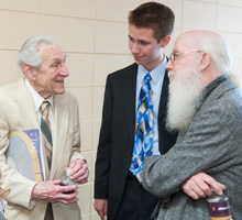 Chris Blaker, '14, (center) with Professor Wes Dick (right)