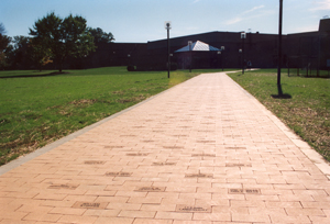 Albion College Commemorative Brick Walkway leading to the Dow Center.