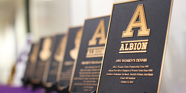 Trophies at the 2012 Albion Athletic Hall of Fame ceremony.