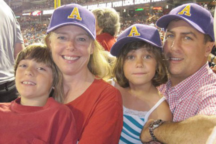Albion alumni and their children attend a Washington Nationals baseball game, an event hosted by the College's Washington, D.C. Alumni Chapter.