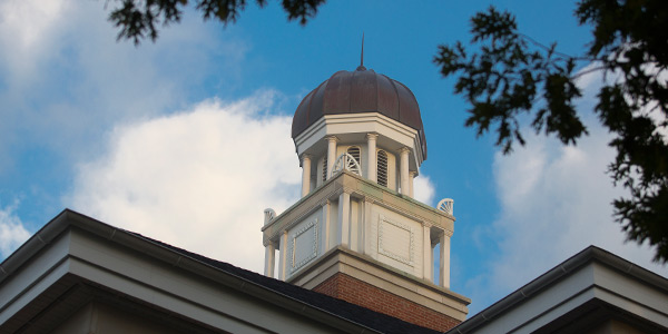 The top of Ferguson Hall on Albion College's quad.