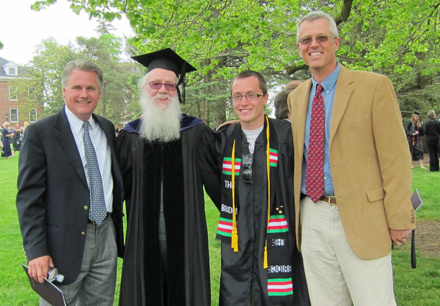 Jeff Petherick, '85; Dr. Wes Dick, history professor; Pryce Hadley, '12; and Tom Bender, '85, at Pryce's graduation