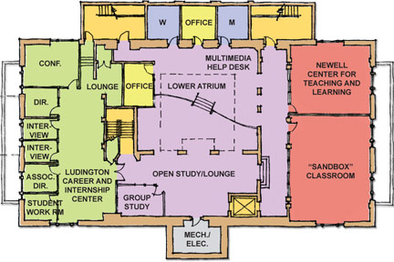 July 2012: Lower-level floor plan of Albion College's Stockwell Library following planned Phase II renovations.