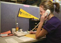 We currently employ 35 dedicated student callers and two managers. We call from our Phonathon headquarters in the basement of the Bonta Admissions Building.