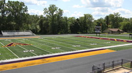 Sprankle-Sprandel Stadium west end zone during summer 2011 renovations.