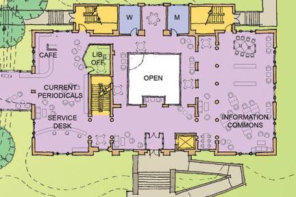 April 2012: First-level floor plan of Albion College's Stockwell Library following planned Phase II renovations.