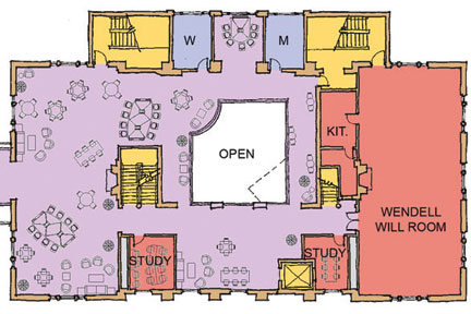 April 2012: Second-level floor plan of Albion College's Stockwell Library following planned Phase II renovations.