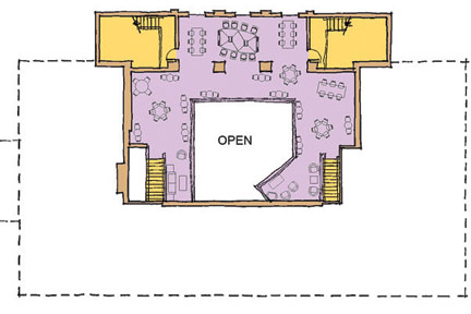 April 2012: Third-level floor plan of Albion College's Stockwell Library following planned Phase II renovations.