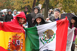 International students in the Homecoming parade.