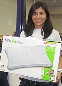 Elaine Starkey donated the Wii Fit Plus she won at the Wellness Fair to the Athletic Training room.