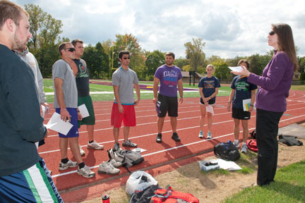 Assistant professor Heather Betz with her exercise science class.