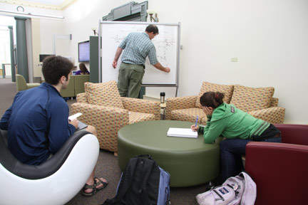 Chemistry professor Andy French has office hours in Cutler Commons.