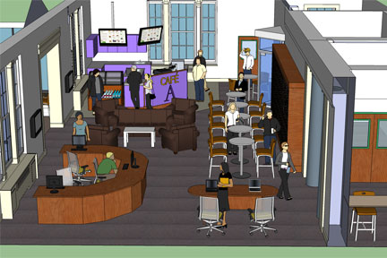 The relocated circulation/reference desk is near the new cafe.