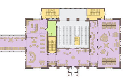 The plan for Cutler Commons on the first floor of Stockwell Library.