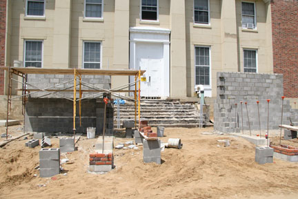 June 16: Stockwell's new patio will have a mix of red and grey brick.