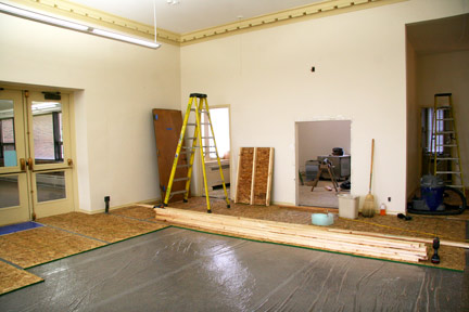 May 12: The wall at right will give way to the library's new cafe.