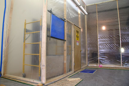 May 23: One wall is gone to make room for the new café.