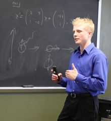 An Albion College mathematics student makes a presentation.