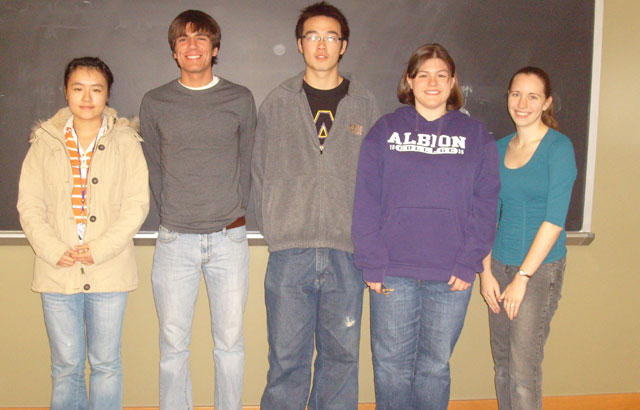 (left to right): Mingjia Yang, Eric Richardson, Chen Chen, Kathryn Wagner, and Rachel Kamischke