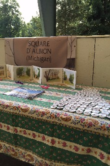 A sign reading 'Square D' Albion (Michigan)' with buttons and literature laid out.