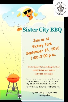 A flyer advertising the Sister City Barbecue event on September 18, 2016.