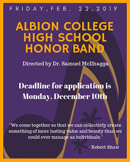 Click to apply for High School Honor Band or call 517-629-0481.