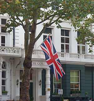 A hotel in South Kensington, across the street from Edwards' London residence.