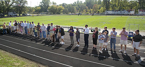 Albion's 2008 Athletic Hall of Fame Inductees on the Elkin Isaac Track before kickoff.