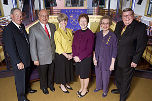2008 Distinguished Alumni Award Recipients: David Neilson, '66; Kirk Heinze, '70; Janet Welch, '71; Randall; and co-recipients Tamara and James Royle, both '63.