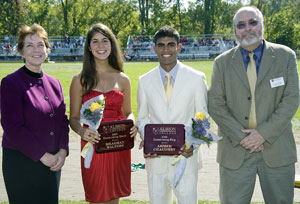 Randall and husband Paul Hagner with Albion's 2008 Homecoming Queen Meaghan Walters and King Ahmed Chaudhry