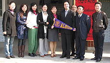 Lewis Cardenas brought an Albion pennant to a tour of the school museum at the Wenhua Middle School in Wuhan, China.