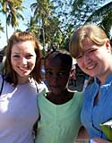 Christina Griffith (left) and Elise Gotham with a student at the school near Jeremie, supported by the Detroit Conference of the United Methodist Church.