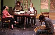 "Megan Edwin, Charles Scott Wolf, Kelly Rose Voigt and Brandon Whitford, perform a scene from the upcoming Albion College production of ""Arcadia."" R. Starko photo."