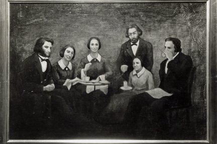 Joint portrait of the faculty of the Wesleyan Seminary at Albion and the Albion Female College, 1860.