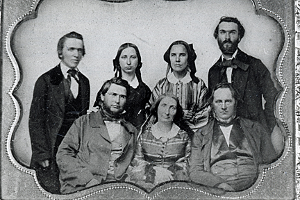 Albion College faculty, 1861. Courses of study offered included mental and moral science, natural science, mathematics, modern languages, belles lettres, English literature, fine arts and ancient languages.