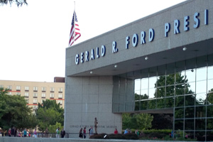 Visitors wait in line outside the Ford Presidential Museum to pay respects to former First Lady Betty Ford, who passed away July 8 at the age of 93.
