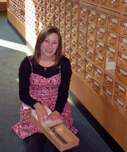 Chelsea Denault pictured at the Newberry Library in Chicago.