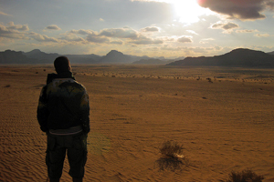 At sunset at Wadi Rum in Jordan, where T.E. Lawrence (Lawrence of Arabia) lived.