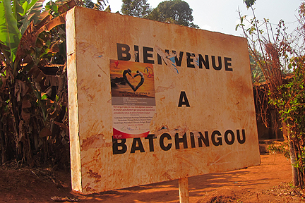 A sign welcomes visitors to the village of Batchingou
