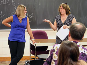 Scritchfield visited a class taught by chemistry professor Lisa Lewis.