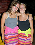 Katie Kirsch and Claire Kaisler in traditional Surinamese cskirts