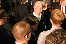 Caster Concepts owner Bill Dobbins, '74, talked with Ford Institute students at the event.