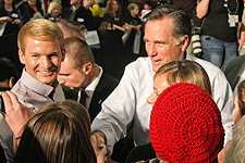 Mitt Romney greeted Ford Institute students after his remarks at Caster Concepts.