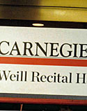 A sign for Carnegie Hall's Weill Recital Hall in New York.