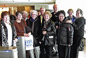 Albion-based groupies on a tour at the Juilliard School, where they received a tour from Emily Regas, a member of Juilliard's development staff and niece of Bill, '70, and Barb, '72, Rafaill.