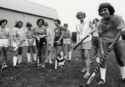 Charlotte Duff with members of the 1981 field hockey team.