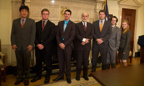 Albion College's Fed Challenge team with Federal Reserve Chairman Ben Bernanke at the 2011 national finals in Washington, D.C.