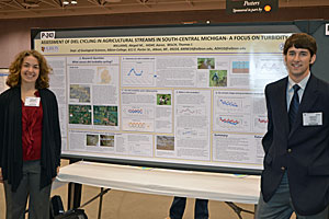 Williams and Hiday at the GSA conference with their winning poster.